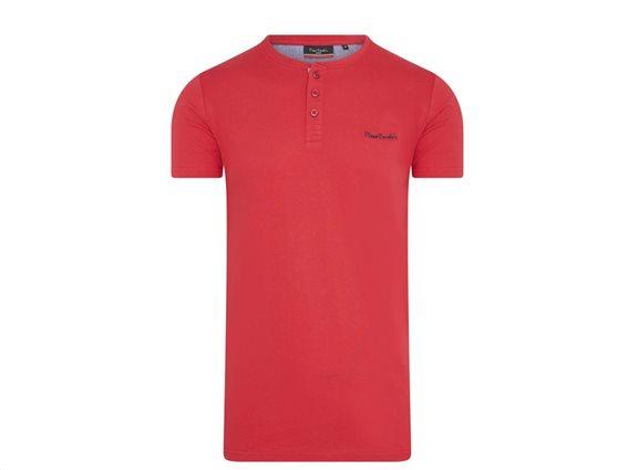 Pierre Cardin Ανδρικό μπλουζάκι T-Shirt με κοντό μανίκι και κουμπιά σε Κόκκινο χρώμα XLarge
