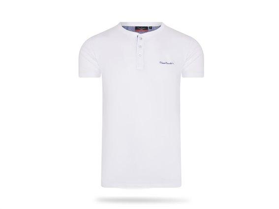 Pierre Cardin Ανδρικό μπλουζάκι T-Shirt με κοντό μανίκι και κουμπιά σε Λευκό χρώμα XLarge