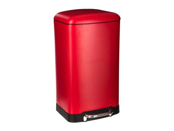 Μεταλλικός Κάδος απορριμμάτων 30L σε κόκκινο χρώμα, 34x32x61cm, Trash bin
