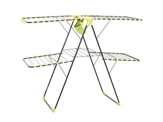 Μεταλλική Πτυσσόμενη απλώστρα ρούχων με θήκη για μανταλάκια, 160x60x125 cm, Drying rack