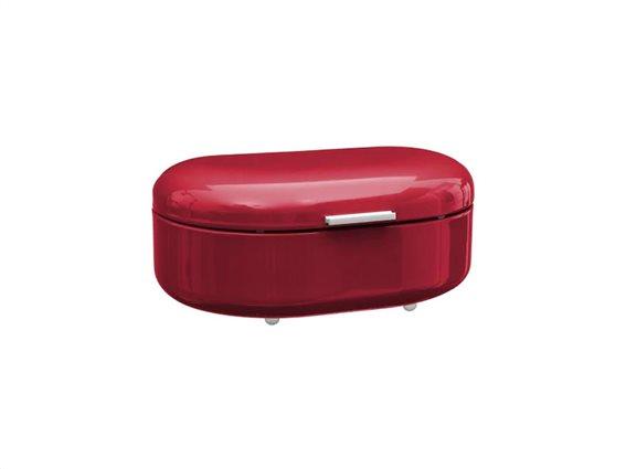 Μεταλλική Ψωμιέρα σε κόκκινο χρώμα σε retro style, 40x25x18 cm, Bread box