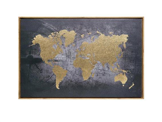 Πίνακας Παγκόσμιος χάρτης σε καμβά και ξύλινο πλαίσιο, 58x88x5 cm