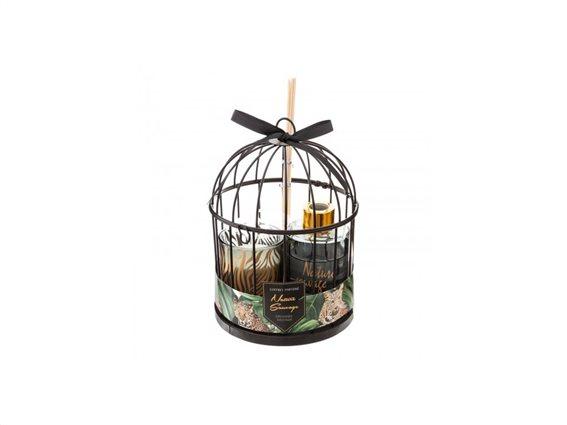 Σετ αρωματικό χώρου 3 τεμαχίων με αρωματικά Sticks, κερί, μεταλλικό κλουβί, 13.5x19 cm Μαύρη Ορχιδέα