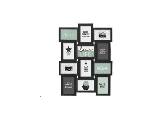 Πολυκορνίζα Κορνίζα Τοίχου για 12 φωτογραφίες, 45x4x60 cm, Photo frame Μαύρο