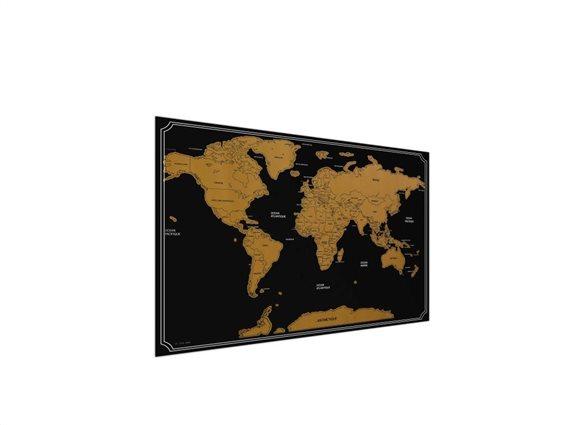 Παγκόσμιος Χάρτης Ξυστό με ξύστρα, World Scratch Map, 82x59 cm Μαύρο