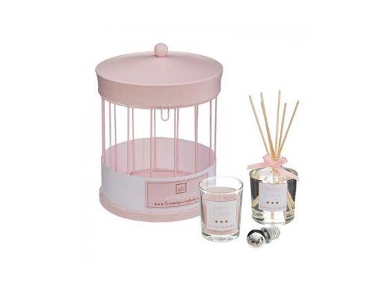Σετ αρωματικό χώρου 3 τεμαχίων με αρωματικά Sticks, κερί και μεταλλικό κλουβί, 14x19 cm Ροζ Βαμβάκι