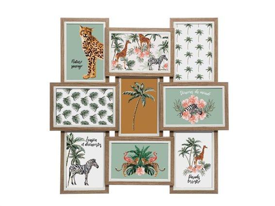 Πολυκορνίζα Τοίχου ξύλινη για 9 φωτογραφίες σε τετράγωνο σχήμα με θέμα την ζούγκλα,  45x3x45 cm