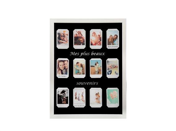Πολυκορνίζα Κορνίζα Τοίχου για 12 φωτογραφίες Polaroid σε λευκό χρώμα, 32.5x2.5x42.5 cm