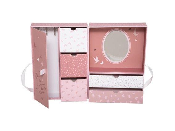 Βιβλίο μπιζουτιέρα κουτιά αποθήκευσης με 6 θήκες και καθρέφτη, σε ροζ χρώμα,  20x12x28cm