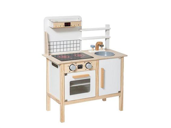 Ξύλινη Παιδική Κουζίνα με νεροχύτη και απορροφητήρα, Wooden kitchen, 59.5x29.5x75.5 cm