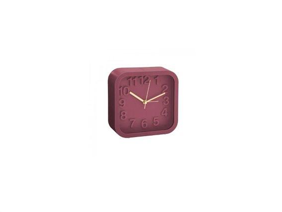 Ρολόι Ξυπνητήρι τετράγωνο, αθόρυβο, 13x13 cm Μπορντώ
