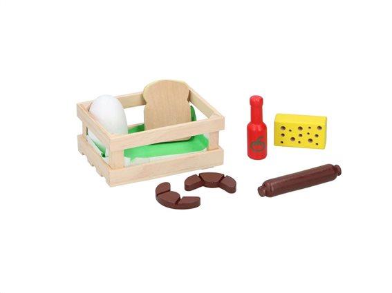 Παιδικό ξύλινο καλάθι καφάσι με τρόφιμα, 13.8x10x5.8 cm Πρωινό