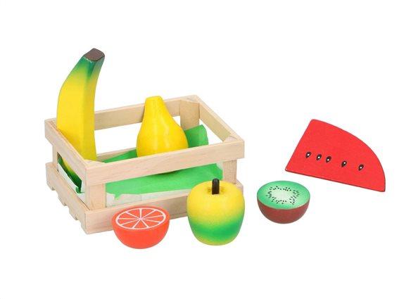 Παιδικό ξύλινο καλάθι καφάσι με τρόφιμα, 13.8x10x5.8 cm Φρούτα