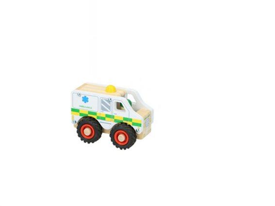 Ξύλινο Παιχνίδι οχήματα Ασθενοφόρο, 9.5x7.8x12.5 cm