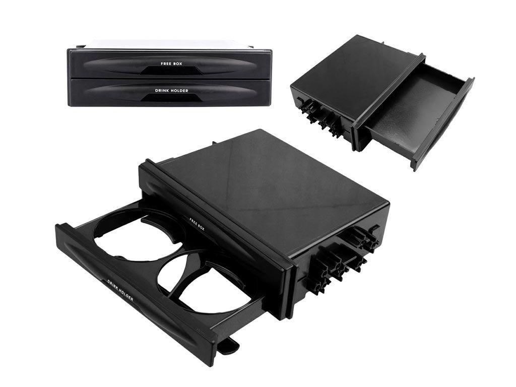 Διπλή Ποτηροθήκη Αυτοκινήτου και συρτάρι για την θήκη 1 DIN, σε μαύρο χρώμα,  173x48mm