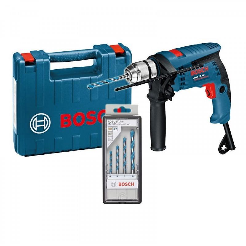 Bosch Κρουστικό Δράπανο 600W 2800rpm 10,8Nm GSB 13 RE Professional  με Θήκη και Σετ 4 Τρυπάνια MultiConstruction RobustLine CYL-9 (4,5,6,8mm)