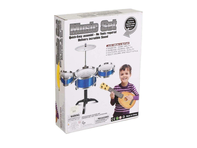 Σετ Παιδικά Ντραμς Drums με 5 τύμπανα, 1 πιατίνι και κιθάρα, Drums set