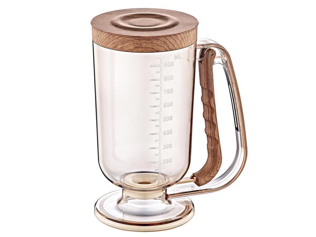 Herzberg Κανάτα Διανεμητής Ζαχαροπλαστικής Dispenser 1000ml, με ξύλινες λεπτομέρειες, HG-OKY2173