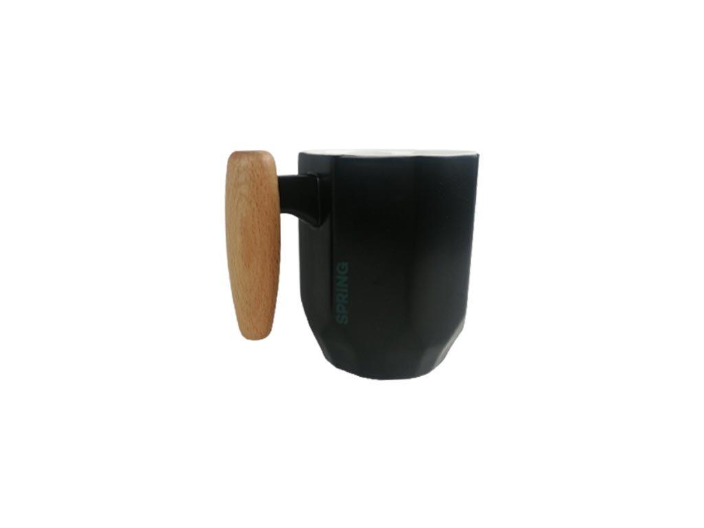 Κεραμική Κούπα με ξύλινη λαβή και ματ φινίρισμα σε μαύρο χρώμα, Coffee mug