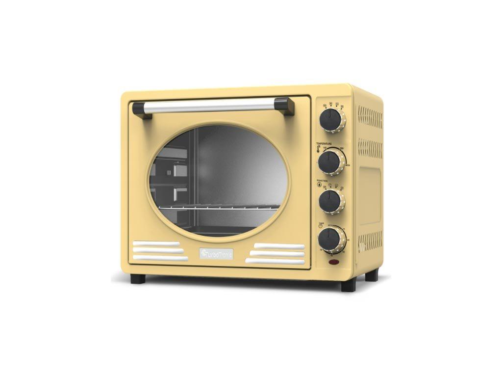 Ηλεκτρικός Retro Φούρνος Grill 35L 1600W με ταψί και πιρούνα ψησίματος, Turbotronic TT-EV35R Μπεζ