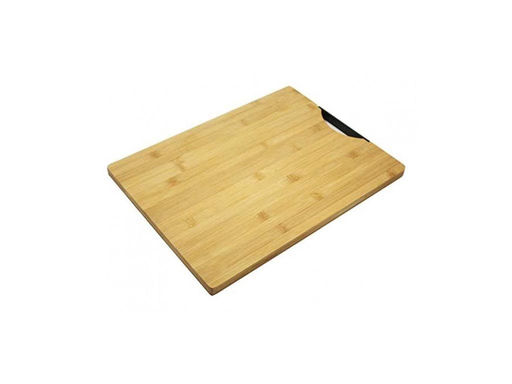 Bamboo Επιφάνεια κοπής σε φυσικό χρώμα ξύλου με πλαστική λαβή, 32x45x1.8 cm, Cutting board