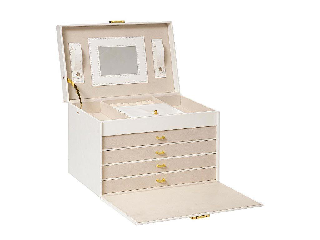 Κοσμηματοθήκη Μπιζουτιέρα Βαλιτσάκι απο τεχνητό Δέρμα σε λευκό χρώμα, 30.3x19.5x20.5 cm