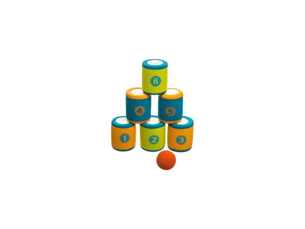 Παιδικό Παιχνίδι με 6 Τενεκεδάκια για Στόχο και μπαλάκι από αφρώδες υλικό, Can Game