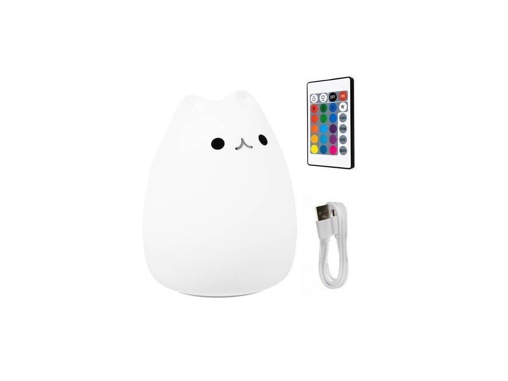 Παιδικό φωτιστικό led σε σχήμα γατάκι με εναλλαγή χρωμάτων, 15x11x11 cm, Kitten Bedside Lamp
