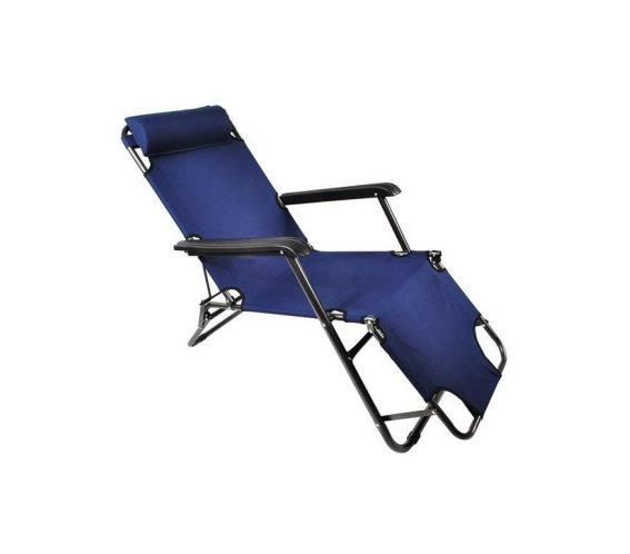 Μεταλλική Ξαπλώστρα Κήπου, Παραλίας, Θαλάσσης με μαξιλάρι σε μπλε χρώμα, 182x67x34 cm