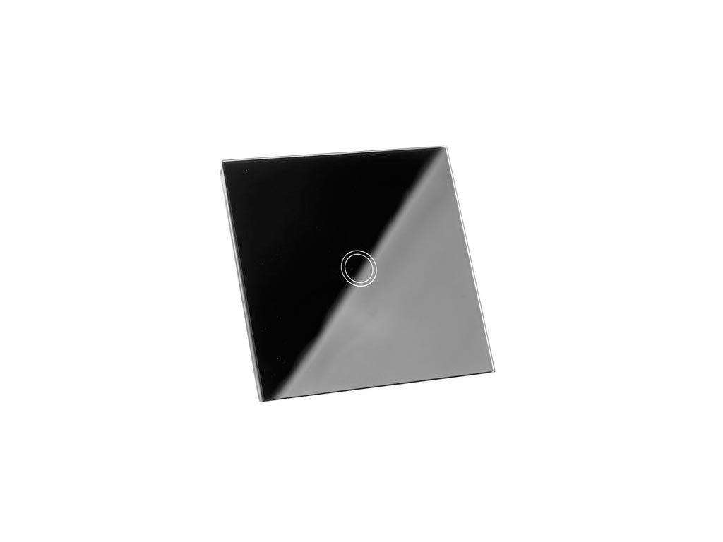 Διακοπτης  τοίχου αφής χωνευτός, με γυάλινη επιφάνεια σε μαύρο χρώμα, 300 Watt, 8.6x8.6x3.3 cm