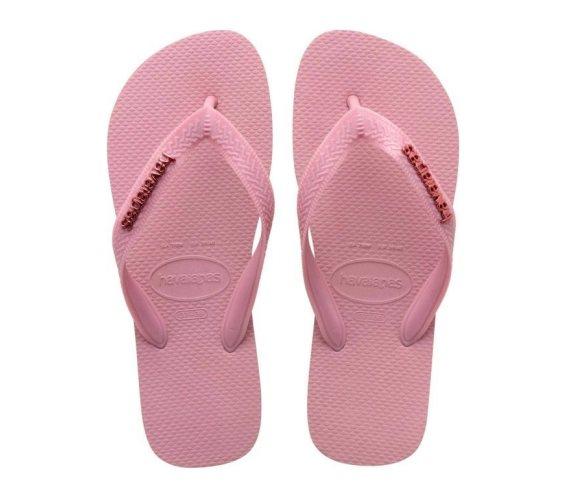 Havaianas Γυναικείες Σαγιονάρες, Flip Flops, σε Ροζ χρώμα με μεταλλικό Logo 39/40