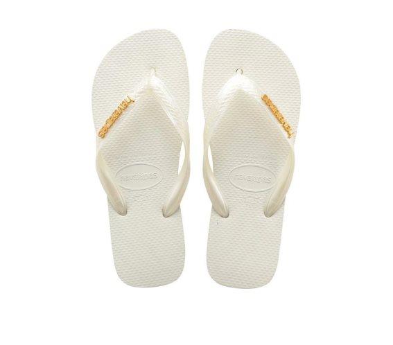 Havaianas Γυναικείες Σαγιονάρες, Flip Flops, σε Λευκό χρώμα με μεταλλικό Logo 37/38