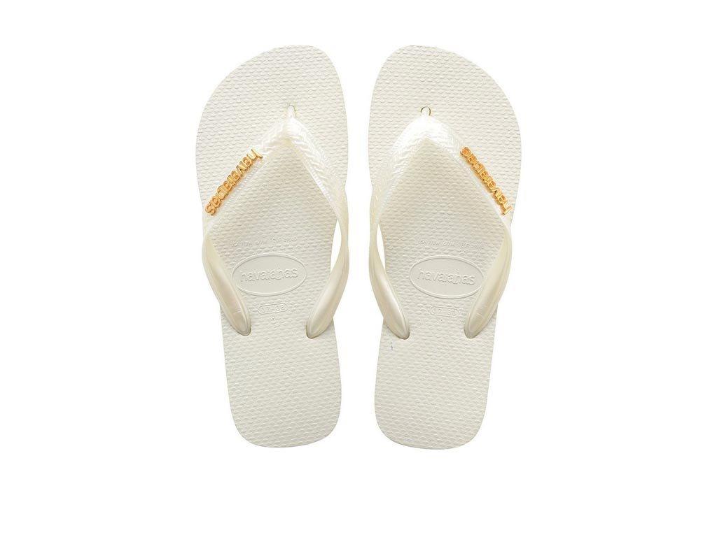 Havaianas Γυναικείες Σαγιονάρες, Flip Flops, σε Λευκό χρώμα με μεταλλικό Logo 39/40