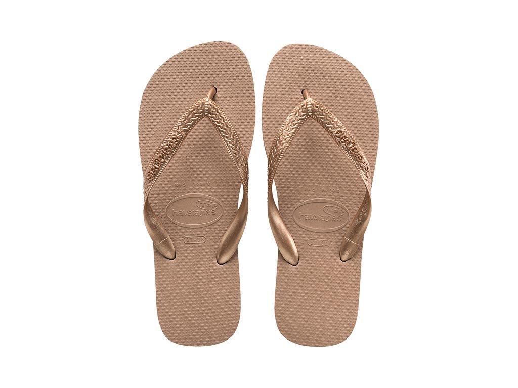Havaianas Γυναικείες Σαγιονάρες, Flip Flops, σε ροζ χρυσό χρώμα, Top Tiras 37/38
