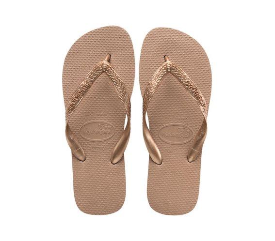 Havaianas Γυναικείες Σαγιονάρες, Flip Flops, σε ροζ χρυσό χρώμα, Top Tiras 41/42