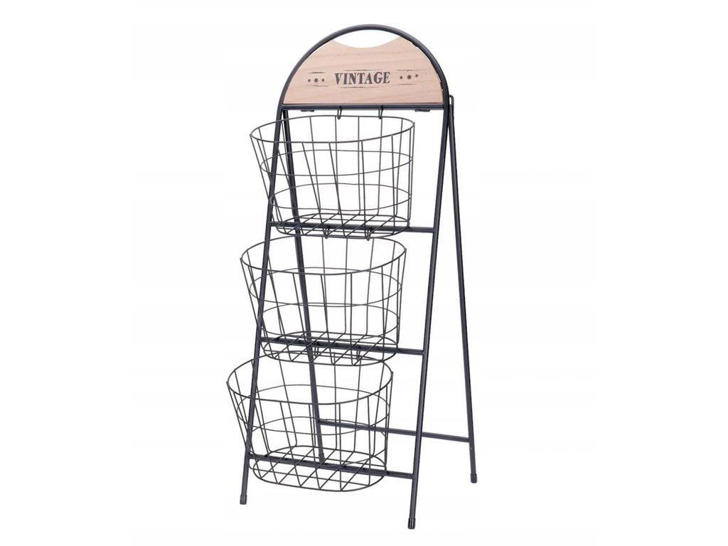 Επιδαπέδια Μεταλλική Ραφιέρα με 3 καλάθια σε μαύρο χρώμα, 33x70x73 cm, Basket stand