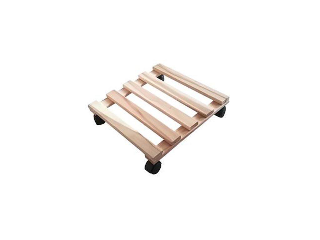 Τετράγωνη Ξύλινη Βάση για Γλάστρες με Ροδάκια, 30x30x8 cm, Flower trolley