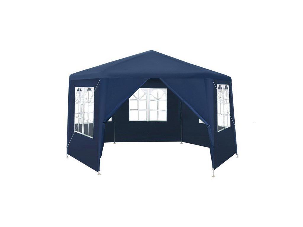Gazebo Αδιάβροχο Κιόσκι Τέντα με 6 πλευρές, σε μπλε σκούρο χρώμα, 4x4x2.6m, Party Tent