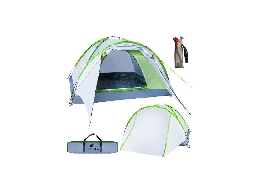 Σκηνή Camping 2-4 ατόμων με extra σκιαστρο πόρτας, σε Ασημί-Πράσινο χρώμα, Nevada, 320x200x140cm