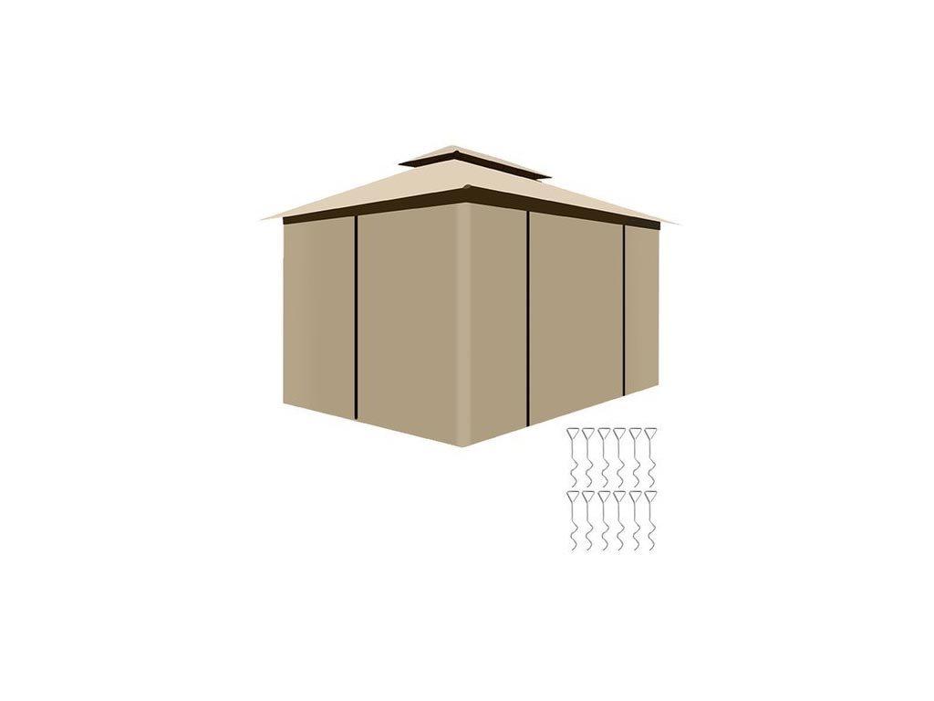 Gazebo Αδιάβροχο Κιόσκι Τέντα με 6 πλευρές και αντικουνουπικό δίχτυ, σε μπεζ χρώμα, 3x4x2.7m