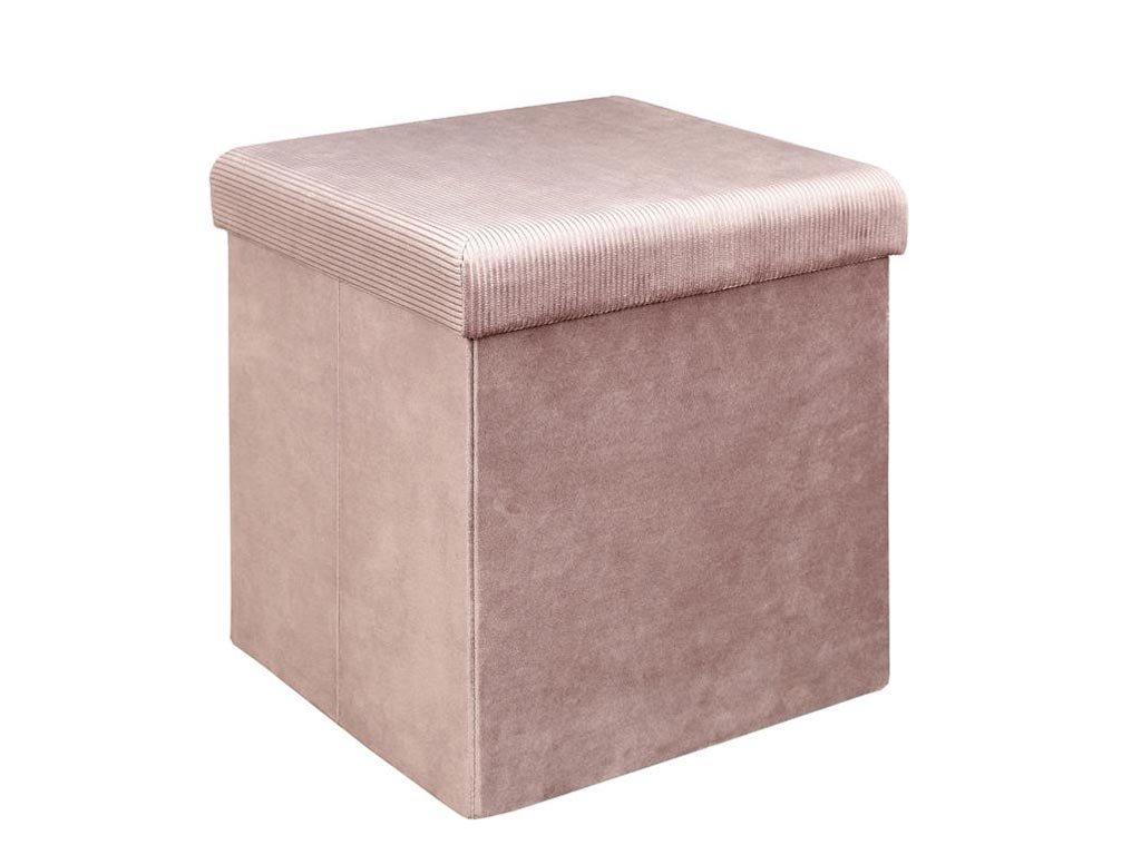 Αναδιπλούμενο βελούδινο σκαμπό με κοτλέ ροζ λεπτομέρεια και αποθηκευτικό χώρο, 38x38x38 cm