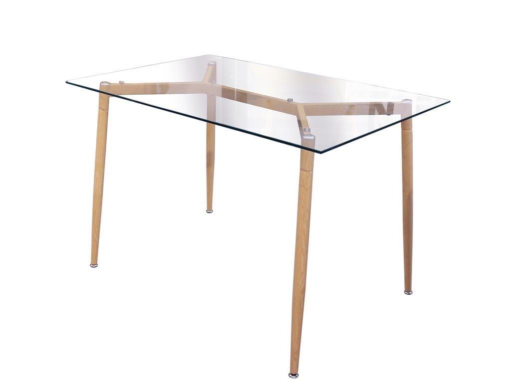 Τραπέζι Σαλονιού κουζίνας Ορθογώνιο με γυάλινη επιφάνεια και μεταλλικά πόδια, 75x75x115 cm