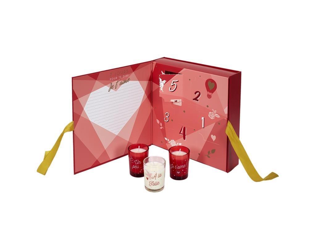 Πενθήμερο Ημερολόγιο με 5 αρωματικά κεριά για ερωτευμένους, Love Advent Calendar, 24x6.2x24 cm