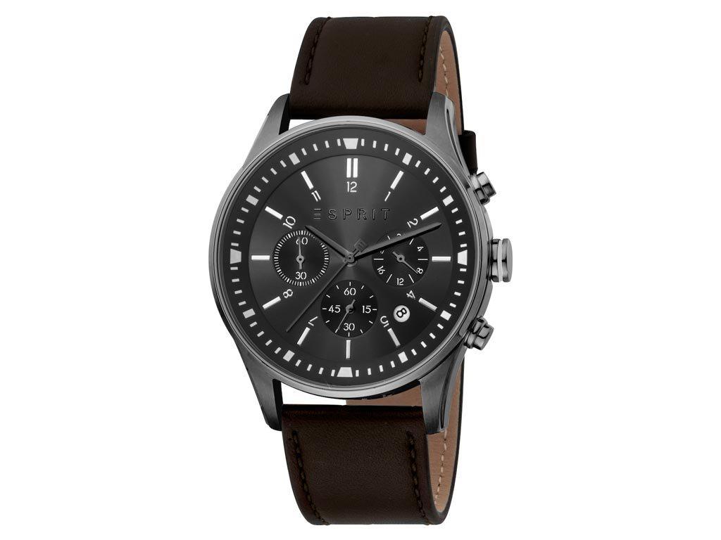 Esprit Ανδρικό Ρολόι χειρός με μαύρο καντράν και δερμάτινο λουράκι, ES1G209L0055