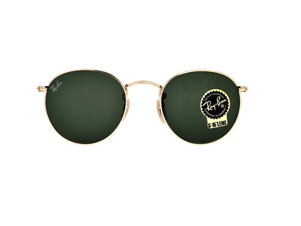 Ray-Ban Unisex Γυαλιά Ηλίου με μεταλλικό Χρυσό σκελετό και Πράσινο Φακό σε στυλ 1960s, RB3447 001 50