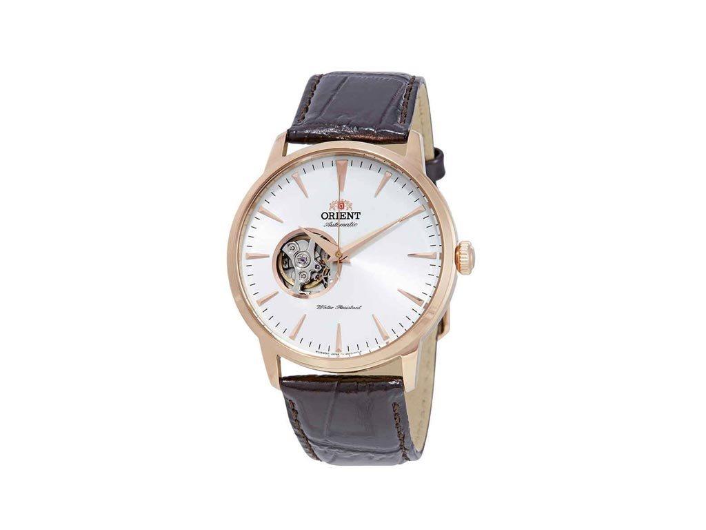 Orient Ανδρικό Ρολόι χειρός με δερμάτινο λουράκι σε Καφέ χρώμα, FAG02002W0