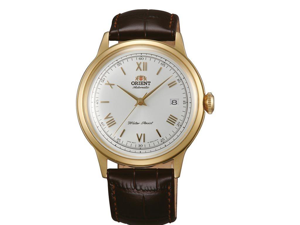 Orient Ανδρικό Αυτόματο Ρολόι χειρός με καφέ λουράκι και χρυσό καντράν, FAC00007W0