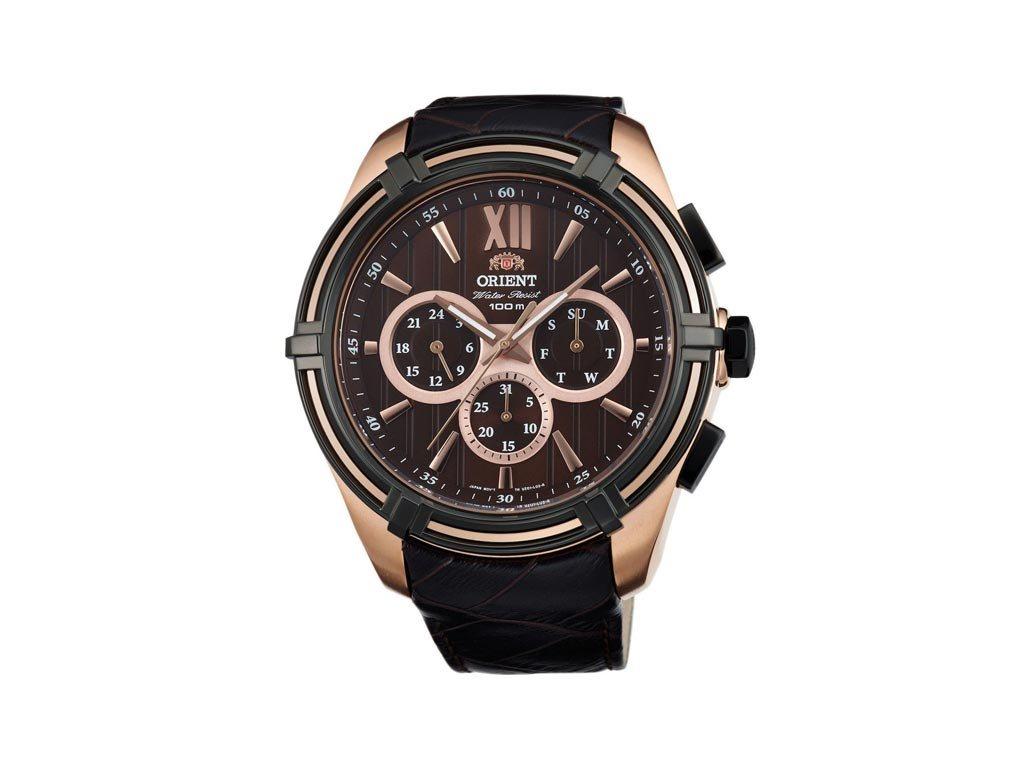 Orient Ανδρικό Αναλογικό Ρολόι χειρός με σκούρο καφέ λουράκι και καφέ καντράν, FUZ01005T0
