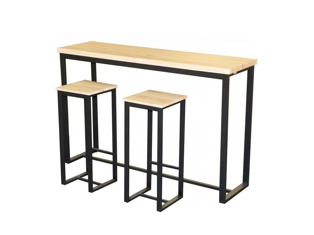 Σετ έπιπλο μπαρ τραπέζι και 2 σκαμπό με μεταλλική βάση και ξύλινη επιφάνεια, 140x40x100 cm
