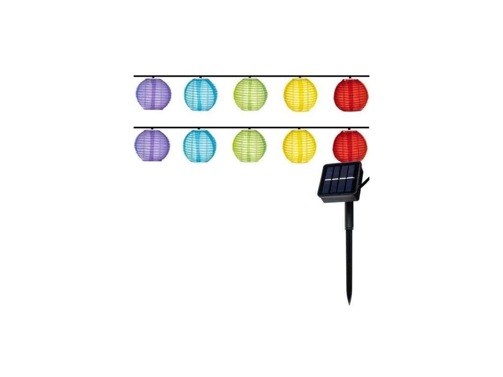 Ηλιακή διακοσμητική γιρλάντα με 10 λάμπες σε διάφορα χρώματα